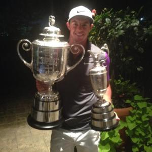 rory two trophies